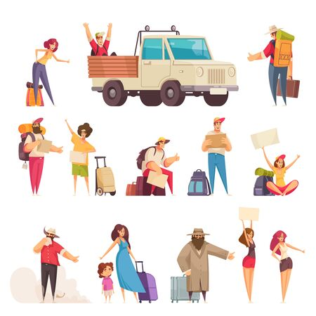 Cartoon set of people with maps bags and suitcases hitchhiking isolated on white background vector illustration