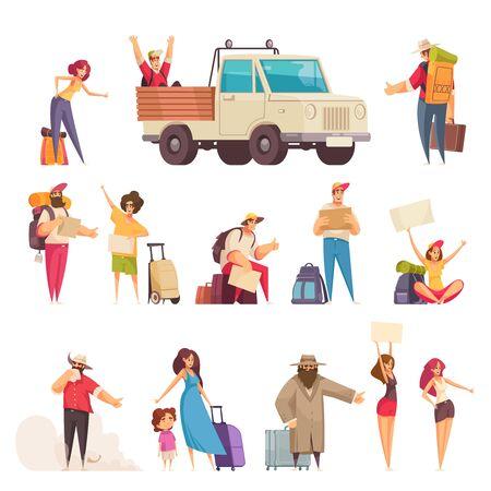 Conjunto de dibujos animados de personas con mapas, bolsas y maletas haciendo autostop aislado en la ilustración de vector de fondo blanco Ilustración de vector