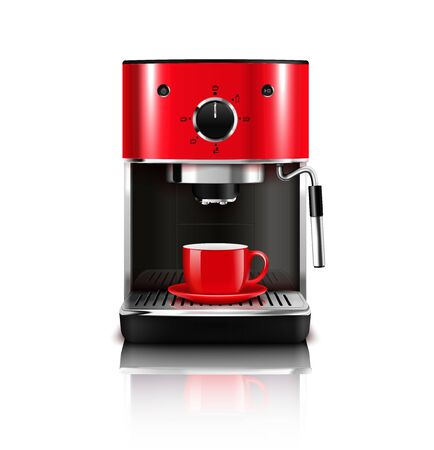 Coffee machine realistic composition with stylish red model for brewing hot drinks with cup and reflection vector illustration