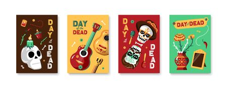 Day of dead four isolated posters with elements of national mexican culture  and holiday attributes cartoon Illustration