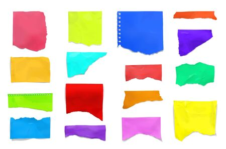 Ripped torn for scrapbook realistic colorful college notebook pages plain paper pieces set isolated white background vector illustration