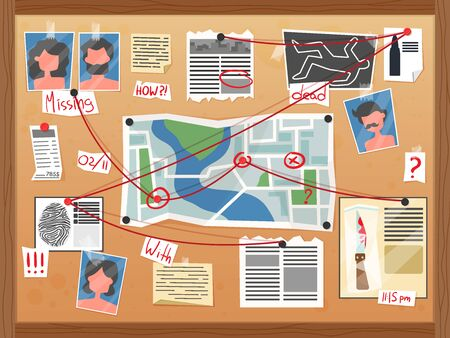 Composizione del diagramma del crimine del consiglio investigativo con una serie di file di indagine appuntati a bordo con illustrazione vettoriale di note scritte a mano