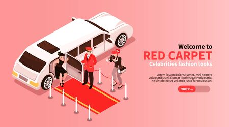 Isometric celebrities horizontal banner with slider button editable text and images of limousine car with people vector illustration Illustration