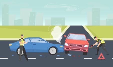 Car accident  with police and rules symbols flat