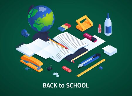 School stationery concept with back to school symbols isometric vector illustration Illustration