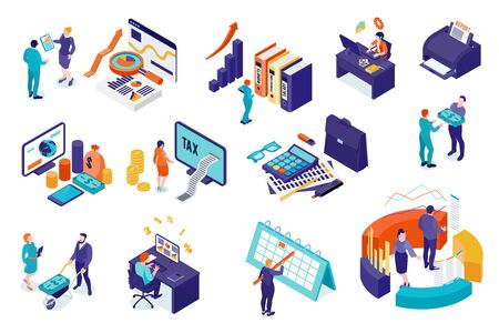 Accounting isometric set of people involved in business analysis auditing tax process financial report isolated vector illustration