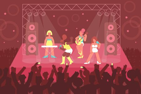 Concert singer composition of flat images and characters of girls band members performing music on stage vector illustration Ilustracja