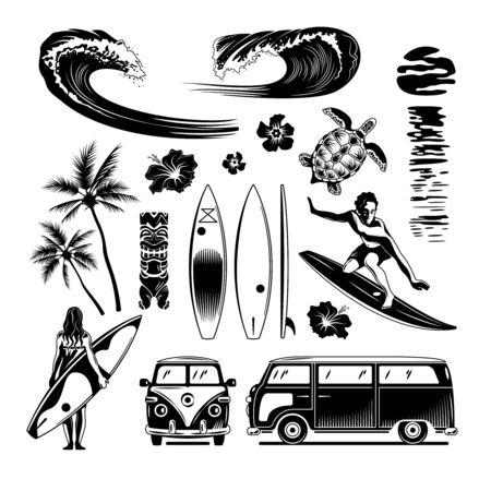 Surfing engraving set of surfboards rushing waves retro cars surfer riding surfboard hand drawn monochrome vector illustration Ilustração