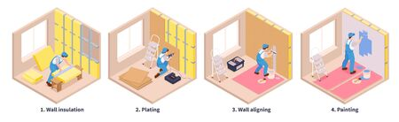 Isometric repairs set of four cubic shaped compositions text captions and different stages of decoration works vector illustration