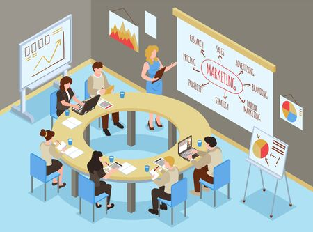 Isometric business training hall composition with indoor office scenery and group of people learning marketing skills vector illustration