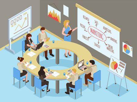 Izometryczny skład sali szkoleniowej dla biznesu z wewnętrzną scenerią biurową i grupą ludzi uczących się umiejętności marketingowych ilustracji wektorowych