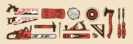 Lumberjack color hand drawn set of tools for woodworking including axe handsaw carpentry instrument isolated vector illustration