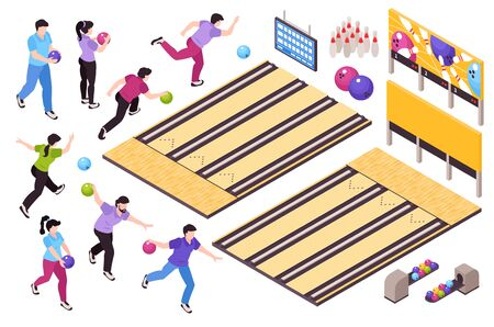 Bowling sport game entertainment isometric set with players throwing balls knocking pins score sheet frames vector illustration  일러스트