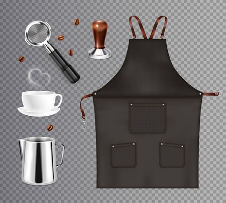 Barista coffee equipment realistic transparent set with isolated images of dickey kettles and cups with beans vector illustration