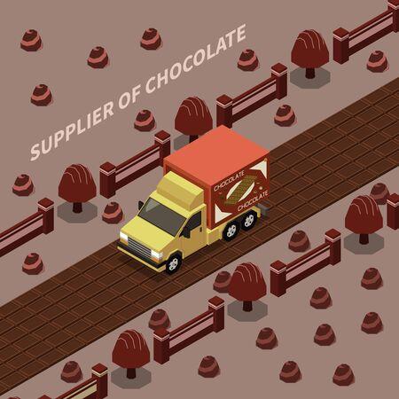 Fournisseur de chocolat abstrait avec camion de livraison voyageant à l'illustration vectorielle isomère de la route du chocolat
