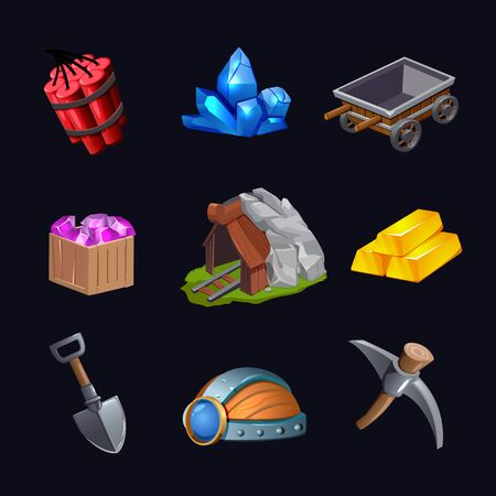 Isolated mining game design icon set with treasure hunt crystals and mines vector illustration Ilustracje wektorowe