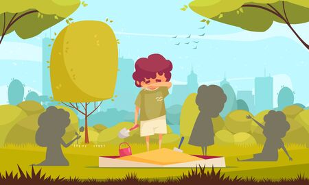 Cartoon background with lonely sad boy standing on sandpit and mopping tears from face vector illustration Illustration