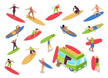Surfing isometric icons set with woman riders drop knee techniques beginners camper bus surfboards isolated vector illustration