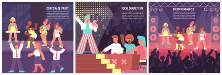Set with three square singer compositions of editable text and flat human characters of singing musicians vector illustration
