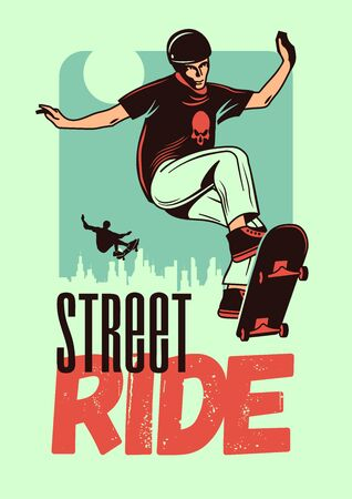 Street ride hand drawn color poster with young man in helmet jumping on skateboard 일러스트