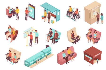 Public transport people isometric set of isolated human characters with chair seats stops and ticket windows