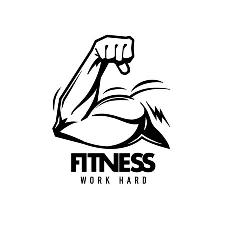 Fitness hand drawn black emblem with strong bodybuilder flexing hand isolated on white