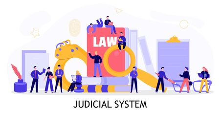 Judicial system concept flat composition with civil criminal investigation court documents law books handcuffs lawyers