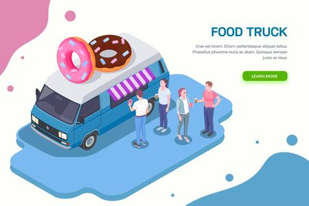 Food truck isometric horizontal background with learn more button editable text and people buying sweet donuts vector illustration