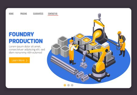Metal industry plant banner with two workers casting iron 3d isometric vector illustration