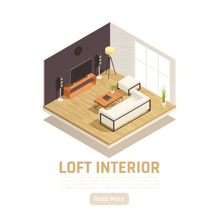 Modern loft home tv movie center interior with glass window wall sofa coffee table isometric vector illustration