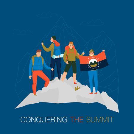 Montagnes escalade trekking camping composition de fond plat avec des alpinistes conquérants au sommet debout avec illustration vectorielle de drapeau national