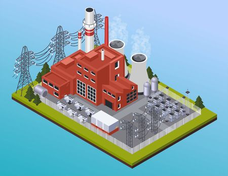 Electricity power station and high voltage wires isometric composition on gradient blue background 3d vector illustration Illustration