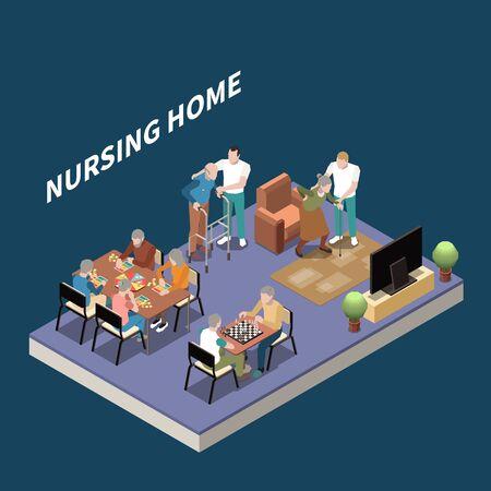 Isometrischer Hintergrund des Pflegeheims mit Bewohnern, die sich mit Hilfe ihrer Hausmeistervektorillustration für Ruhe und Freizeit treffen