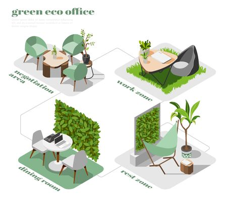 Green office isometric icon set with negotiation area work zone rest zone and dining room descriptions vector illustration