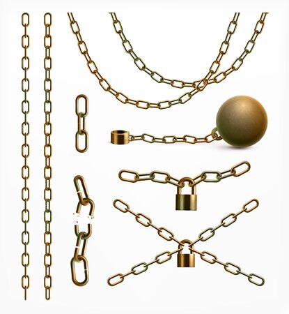 Abstract realistic collection of gold or rusty chains whole and broken attached to ball and padlocks isolated vector illustration