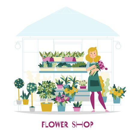 Florist seller flowers shop composition with view of kiosk with flowers on shelves and female character vector illustration