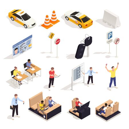 Driving school isometric set with isolated icons of traffic signs characters of students desks and cars vector illustration