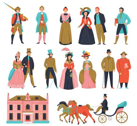 18th 19th century old town fashion carriage set with isolated icons and human characters of aristocrats vector illustration
