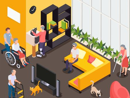 Disabled men and women watching tv resting stroking cats at nursing home 3d isometric vector illustration