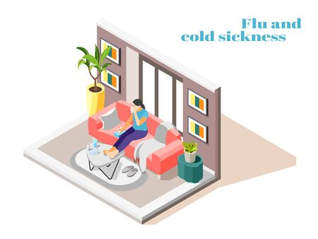 Sick woman with flu cold runny nose sitting on sofa at home with handkerchief isometric vector illustration