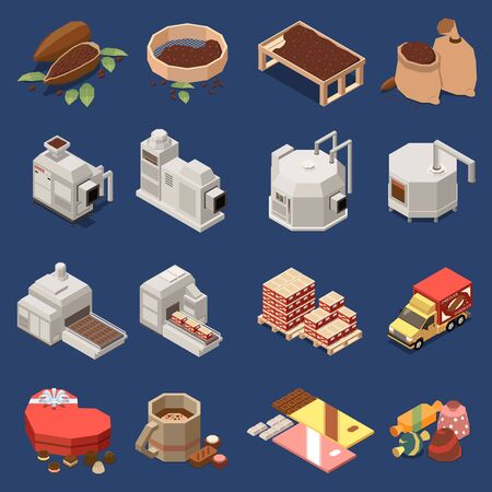 Ensemble isomérique de production de chocolat de matières premières de fèves de cacao lignes d'usine automatisées bonbons et barres illustration vectorielle isolée