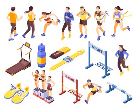 Jogging running people fitness accessories isometric icons set with start finish sneakers podium treadmill hurdle vector illustration