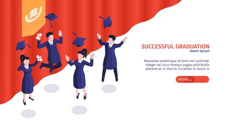 Isometric graduation diploma horizontal banner with group of happy students with red curtain and editable text vector illustration