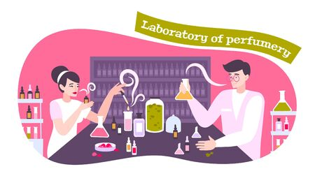 Perfume icons concept with laboratory of perfumery symbols flat