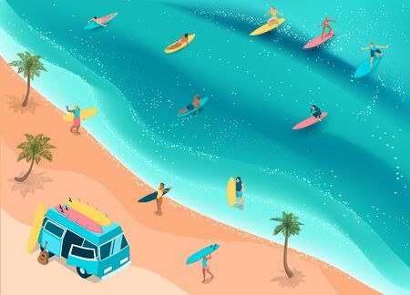 Popular surfing tropical beach with camper bus for surfboards palms riders ocean waves isometric composition vector illustration Ilustração