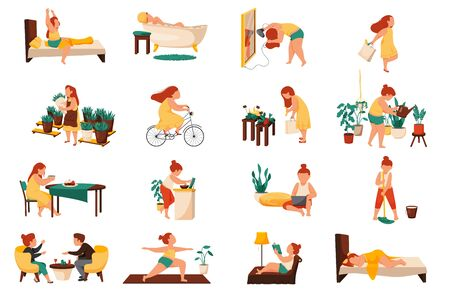 Woman daily routine flat recolor set with sixteen isolated compositions of female characters during various activities vector illustration