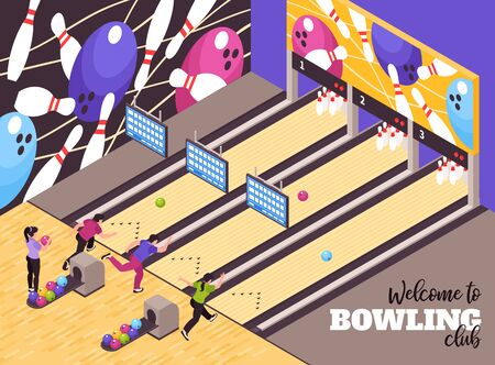 Bowling alley party center lounge  welcoming clients isometric advertisement poster with club members playing game vector illustration  Ilustração