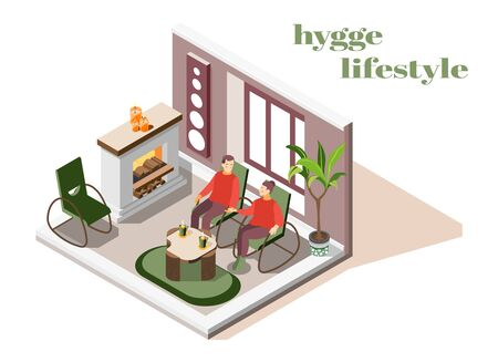 Hygge lifestyle living room interior with fireplace plant candles comfortable with each other couple isometric vector illustration