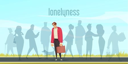 Lonely depressed man with suitcase standing on road cartoon vector illustration