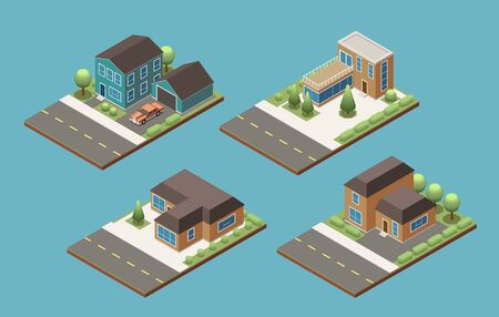 Suburban buildings of individual design  isometric set with  stretch of road and decorative trees vector illustration  イラスト・ベクター素材